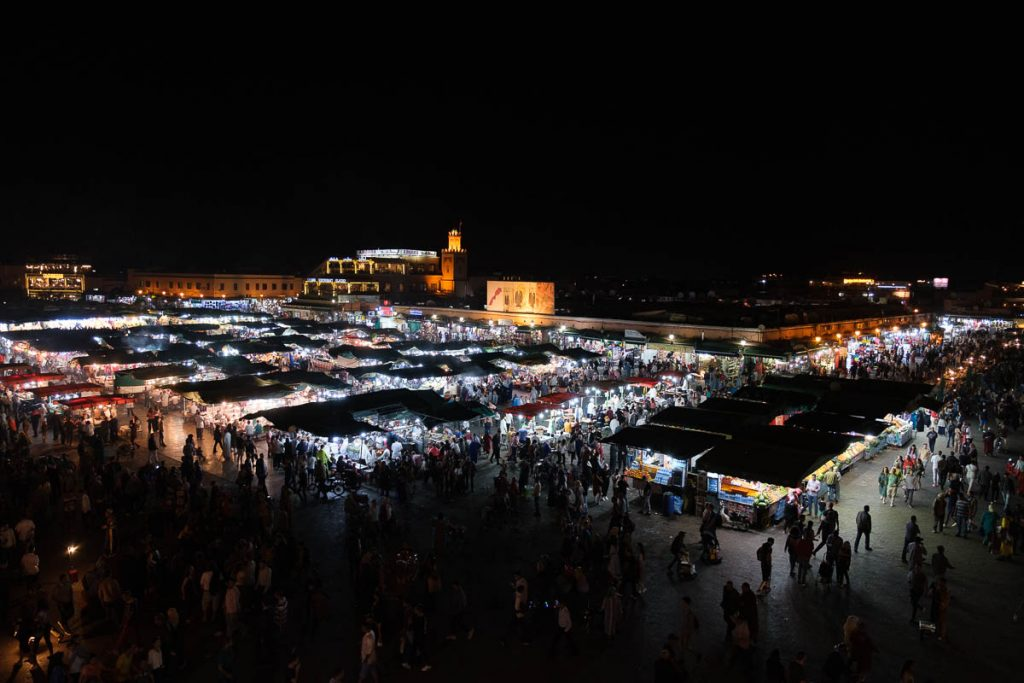 The famous night market in Marrakesh