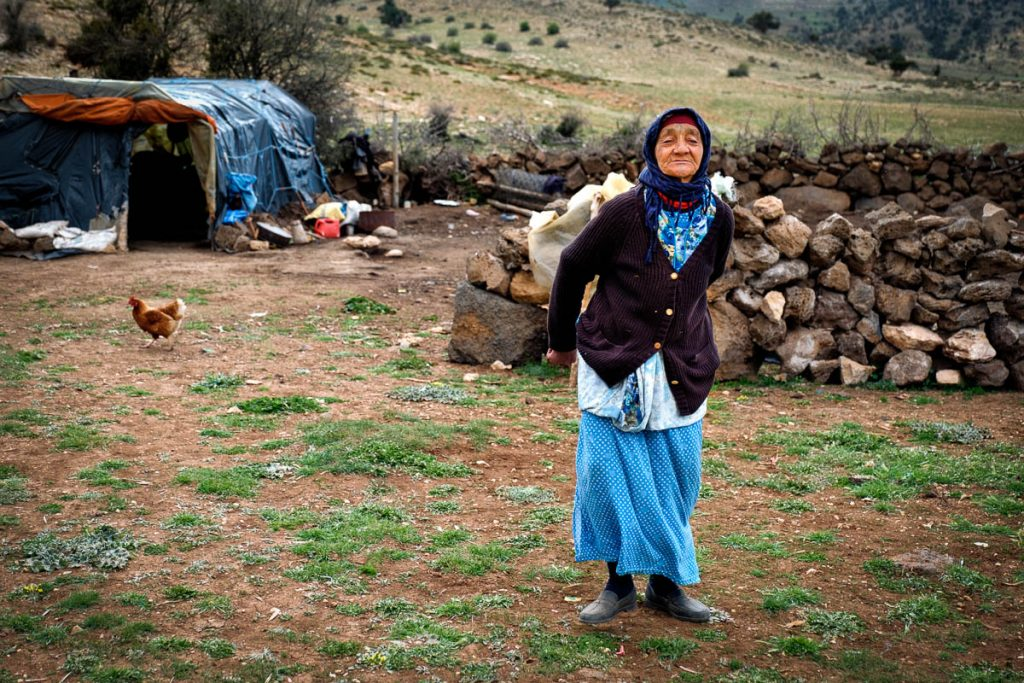 Berber granny minding the camp