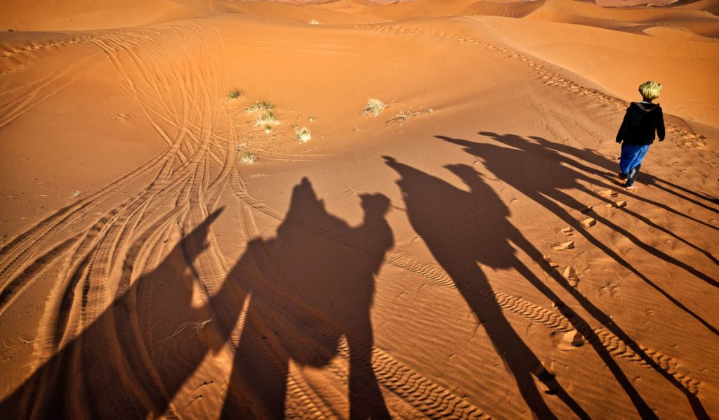 Toureg boy and camel shadows in the desert