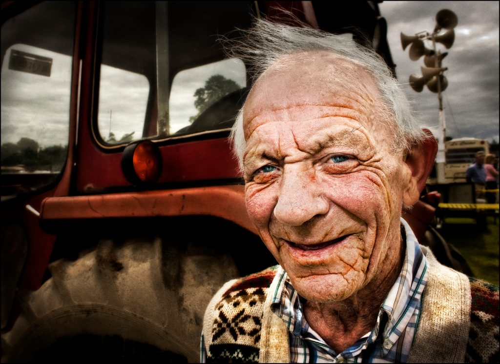 Old man at tractor